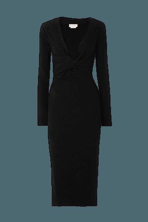 Twist-front Ribbed Wool Midi Dress - Black
