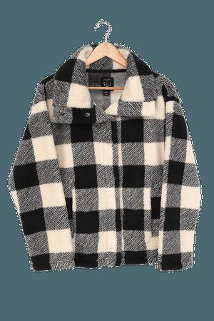 Billabong Cozy Days Jacket - Black Plaid Jacket - Faux Fur Coat - Lulus