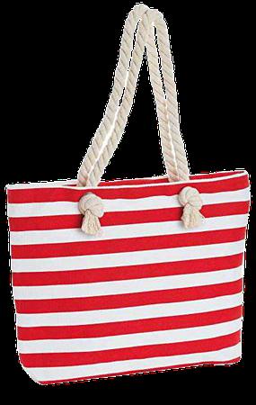 Amazon.com: Red and White Stripe Design Rope Handles Canvas Tote Bag Shopper Bag Shoulder Beach: Clothing
