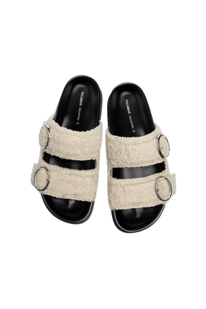 Faux fur flat sandals - pull&bear