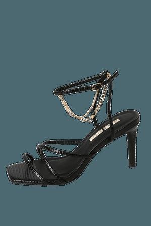 Billini Blakely Black Lizard High Heels - Sexy Ankle Strap Heels