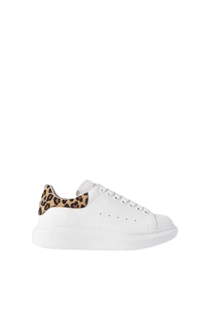Leopard-print Suede And Leather Exaggerated-sole Sneakers - White
