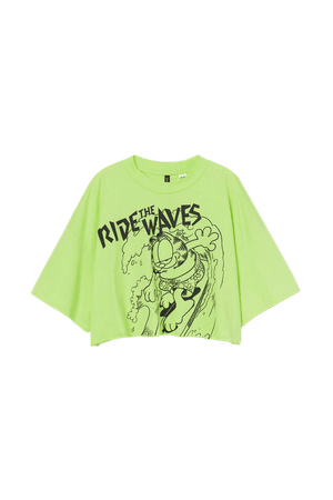 Printed Crop T-shirt - Lime green/Garfield - Ladies | H&M US