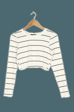 Ivory and Black Top - Striped Top - Long Sleeve Top - Crop Top - Lulus