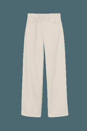 Wide High Jeans - cream - Ladies | H&M US