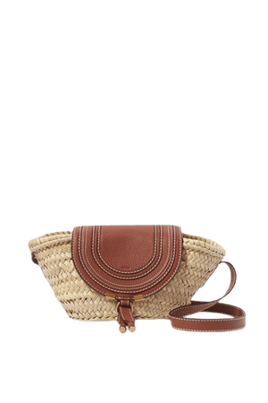 Marcie Small Straw And Textured-leather Shoulder Bag - Tan