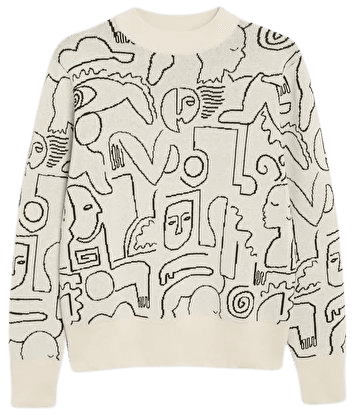 Soft knit sweater - Abstract print - Knitted tops - Monki WW