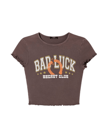 Short sleeve T-shirt with print - Tees and tops - Woman | Bershka