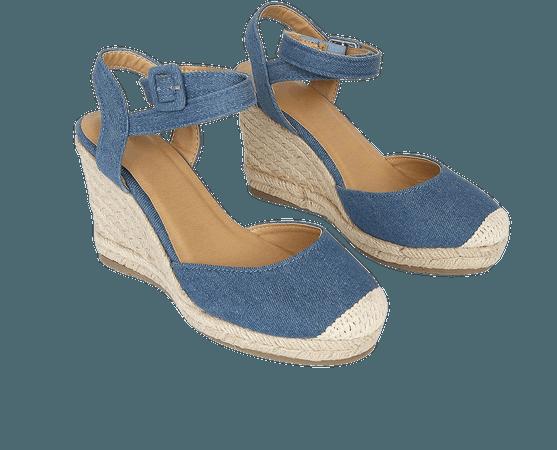 Blue Denim Wedges - Espadrille Wedge Sandals - Wedge High Heels - Lulus