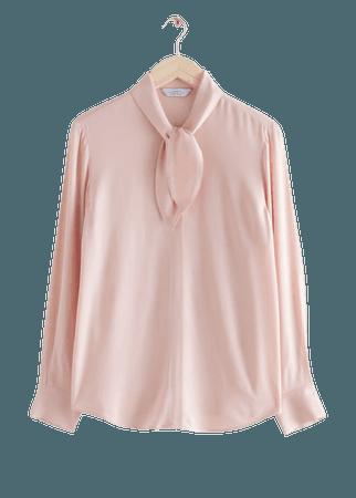 Satin Neck Bow Blouse - Light Orange - Blouses - & Other Stories