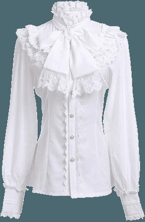 Victorian Blouse Womens Gothic Lolita Shirt Vintage Long Sleeve Lotus Ruffle Tops at Amazon Women's Clothing store