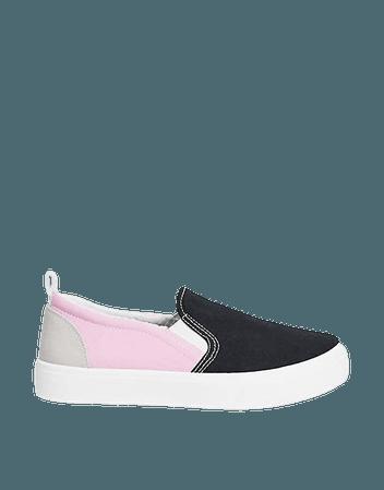 Skechers Poppy slip on sneakers in black and pink   ASOS