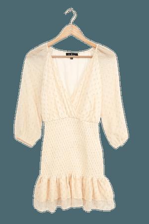 Cream Mini Dress - Clipped Dot Dress - Three Quarter Sleeve Dress - Lulus