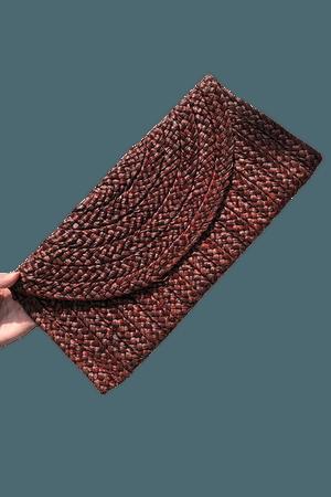 Samara Woven Straw Clutch Bag - Brown – PYAR