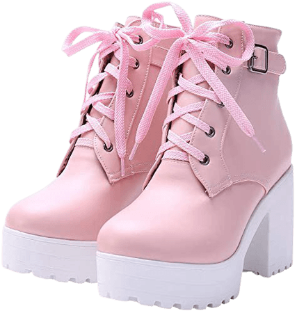 Amazon.com | LUXMAX Women Platform Lace Up Ankle Boots Block High Heel Winter Booties, Size 9 M US, Pink | Ankle & Bootie