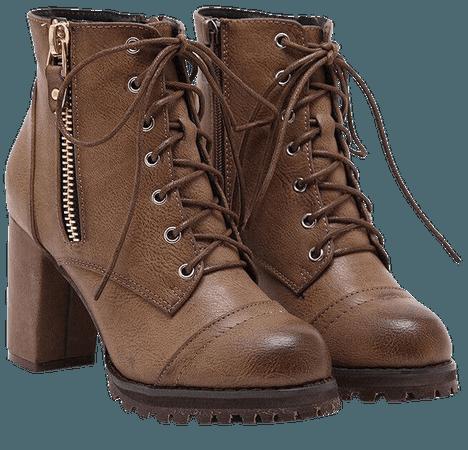 Brown Combat Boot Heels