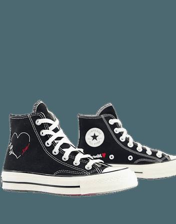 Converse Chuck 70 Hi Love Thread sneakers in black | ASOS