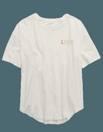 Aerie Love Graphic Distressed Boyfriend T-Shirt