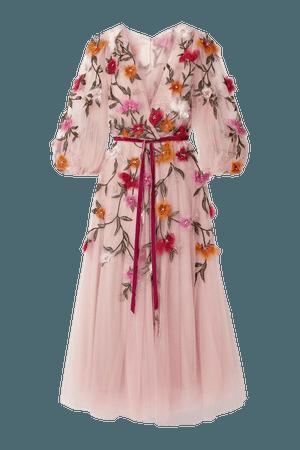 Blush Organza-appliquéd velvet-trimmed tulle midi dress | Marchesa | NET-A-PORTER