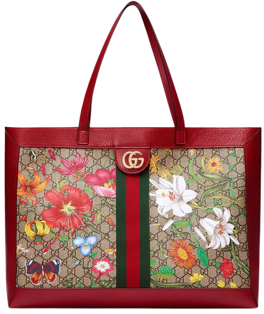 Shop red Gucci flora print tote bag with Express Delivery - Farfetch