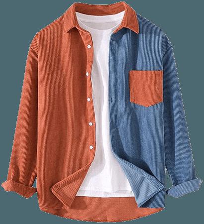 Ladyful Men's Color Block Corduroy Shirt Long Sleeve Button Down Blouse Top Blue at Amazon Men's Clothing store