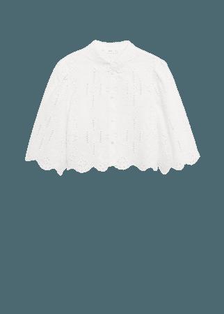 Swiss embroidery linen blouse - Women | Mango USA