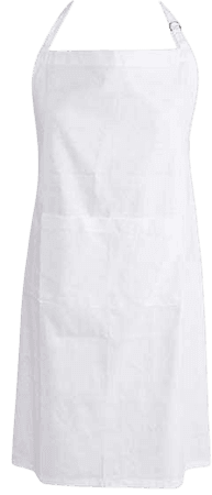 Amazon.com: DII Cotton Adjustable Kitchen Chef Apron with Pocket and Extra Long Ties, 32 x 28, Commercial Men & Women Bib Apron for Cooking, Baking, Crafting, Gardening, BBQ-White: Home & Kitchen