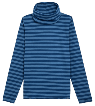 dark blue and blue striped Transformable t-shirt