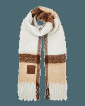 Cream check scarf | River Island