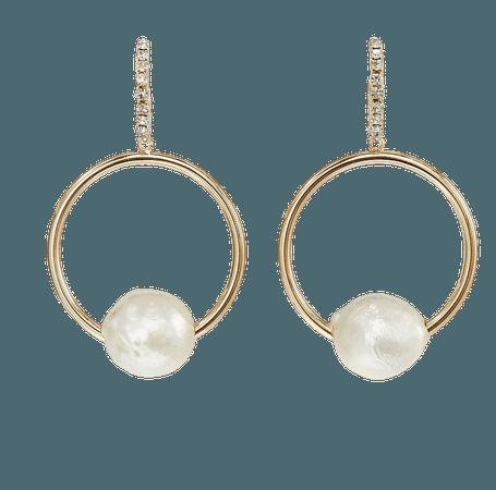 Watts 10k Gold-Plated Brass, Pearl and Glass Crystal Earrings by Dannijo | Moda Operandi