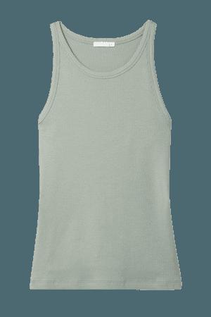 Ivy Ribbed Stretch-pima Cotton Jersey Tank - Gray green