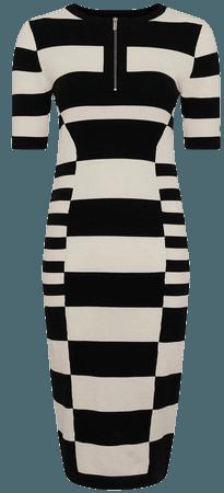 Mono Stripe Knitted Dress | Karen Millen