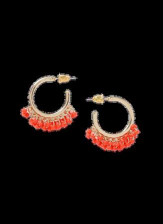 Orange Sed Bead Hoop Earrings   Dorothy Perkins