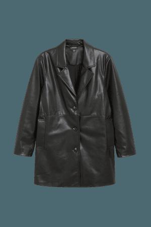 Faux leather jacket - Black faux leather - Jackets - Monki WW