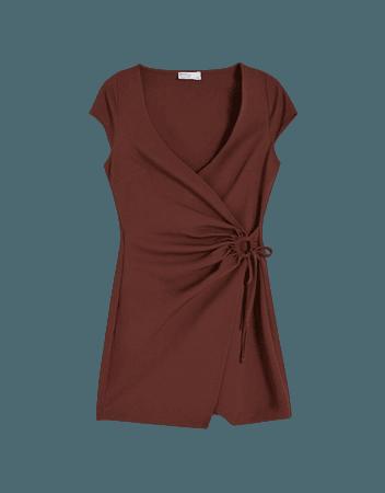 Short gathered wrap dress - Dresses - Woman   Bershka
