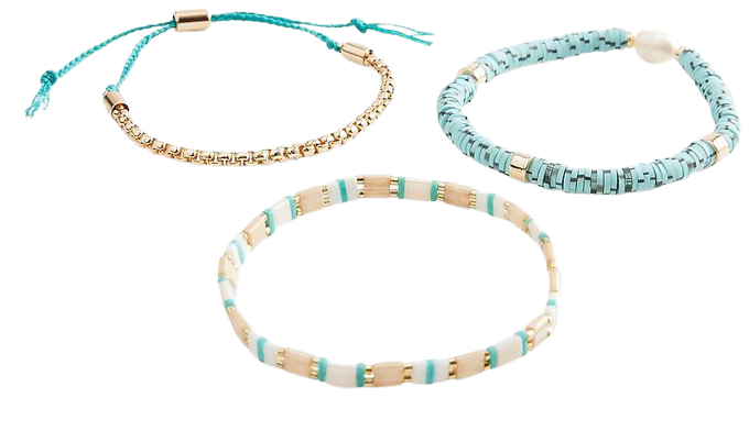 3 Piece Turquoise And Pearl Bracelets