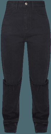 Washed Black Slash Knee Long Leg Straight Leg Jeans | PrettyLittleThing USA