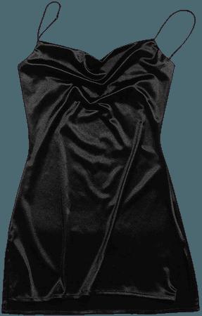 ZAFUL Women's Stars Print Side Slit Velvet Sleeveless Mini Dress Sexy Cowl Front Spaghetti Strap A-Line Mini Dress at Amazon Women's Clothing store