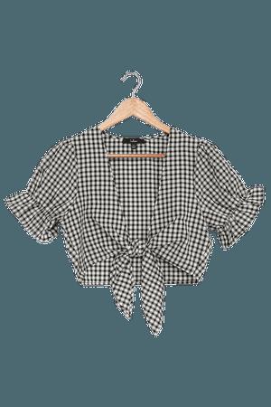 Black Gingham Top - Puff Sleeve Crop Top - Tie-Front Blouse - Lulus