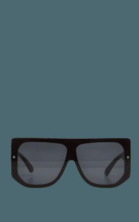 Black Oversized Back Frame Sunglasses   PrettyLittleThing USA