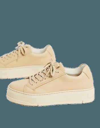 Vagabond Judy flatform sneakers in beige leather | ASOS