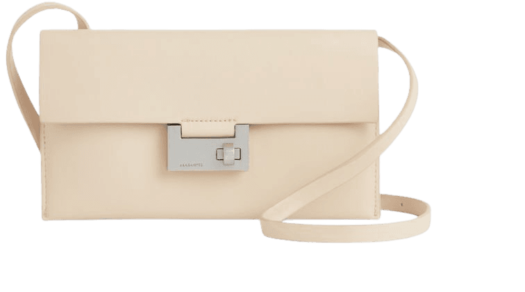 ALLSAINTS US: Womens Francoise Leather Crossbody Bag (parchment_white)