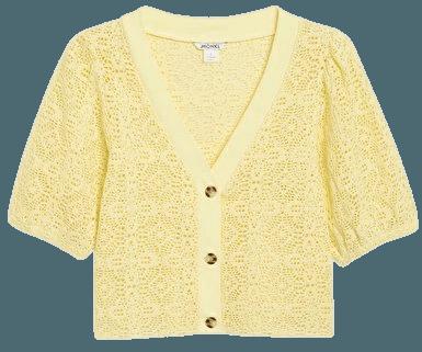 Crop crochet knit cardigan - Light yellow - Cardigans - Monki WW