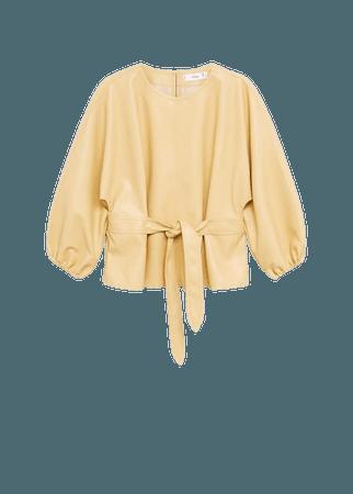 Leather-effect blouse with belt - Women | Mango USA