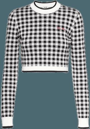Miu Miu gingham-check cropped sweater