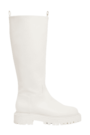 Faux leather knee-high boots - White - Boots - Monki WW