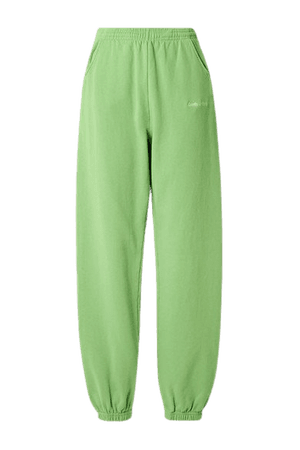 Embroidered Cotton-jersey Track Pants - Light green
