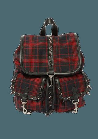 Current Mood Plaid Spike Backpack - Red | Dolls Kill