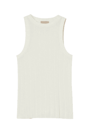 Rib-knit Tank Top - Cream - Ladies | H&M US
