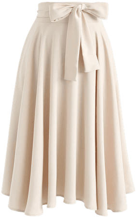 Chic Wish Flare Hem Bowknot Waist Midi Skirt in Light Tan - Retro, Indie and Unique Fashion
